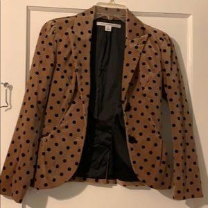 Diane von Furstenberg tan, polka dot blazer size 0